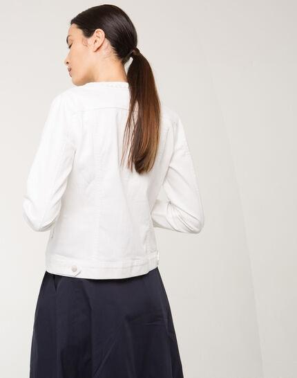Uma white denim jacket with braided collar (4) - 1-2-3