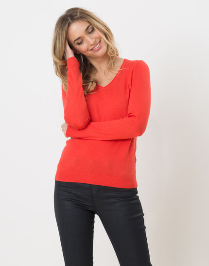 Honorine coral sweater with long sleeves PhotoZ | 1-2-3