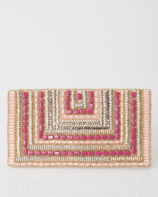 Paprika powder pink beaded clutch bag (2) - 1-2-3