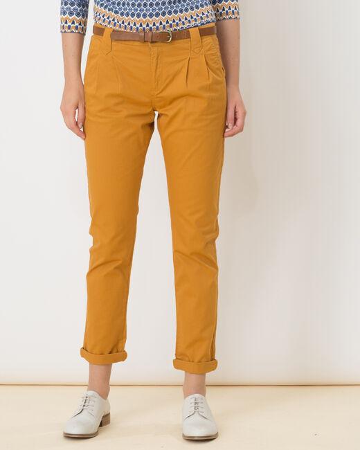 Pantalon carotte ocre avec ceinture Diane (1) - 1-2-3
