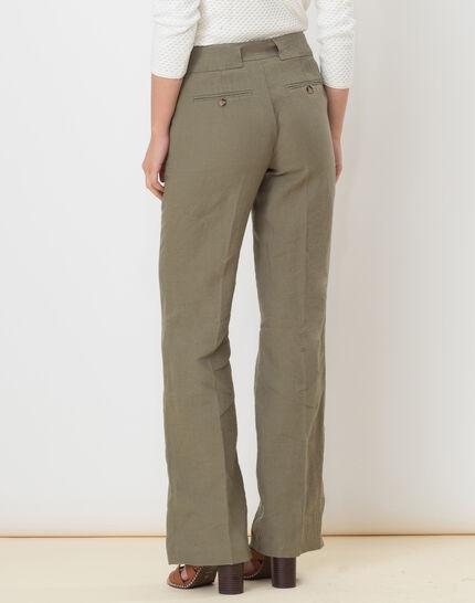 Dolly wide-cut khaki linen trousers (4) - 1-2-3