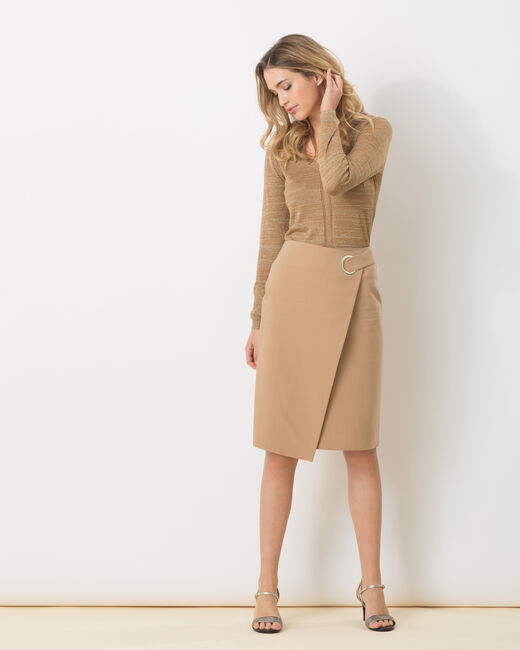 Diana beige wrapover-style skirt (1) - 1-2-3
