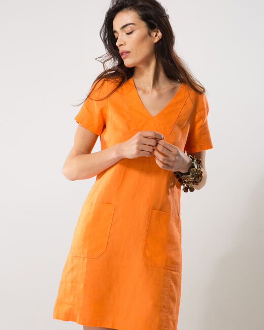 Bisou orange linen dress (2) - 1-2-3