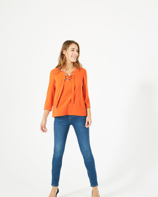 Domino orange blouse with V-neck (1) - 1-2-3