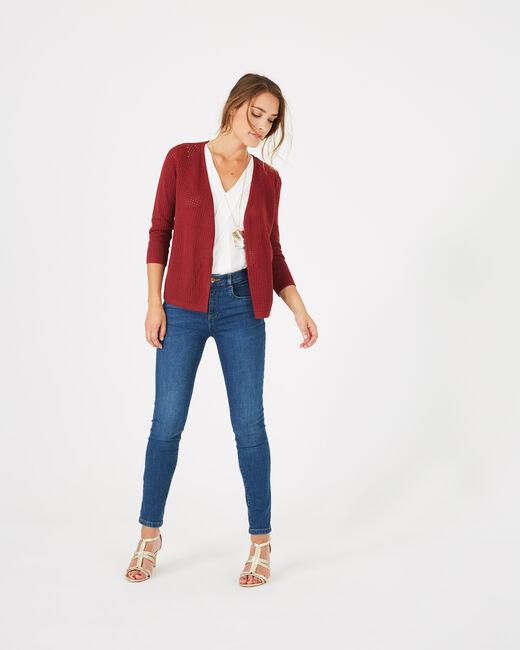 Palissade burgundy cardigan in an openwork knit (1) - 1-2-3