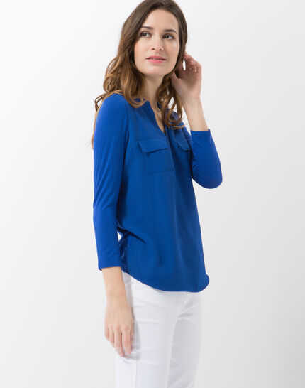 Leden royal blue dual-fabric T-shirt (3) - 1-2-3