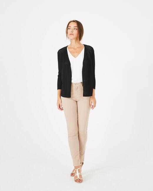 Palissade black cardigan in an openwork knit (1) - 1-2-3