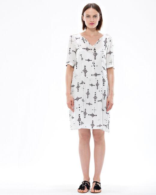 Bilkiss ecru printed dress (1) - 1-2-3