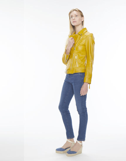 Gabriel yellow biker-style leather jacket (2) - 1-2-3