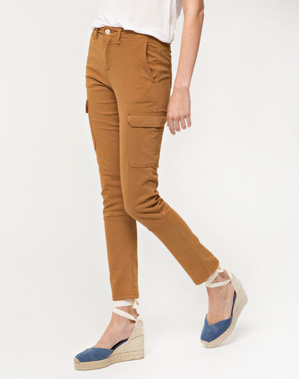 Damien 7/8 length camel trousers with large combat-style pockets (3) - 1-2-3