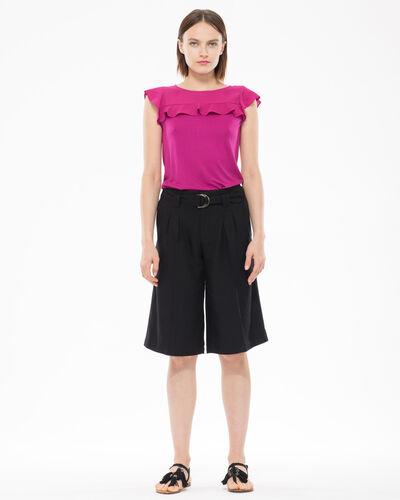 Tee-shirt fuchsia bi-matière volanté Nenuphar (2) - 1-2-3
