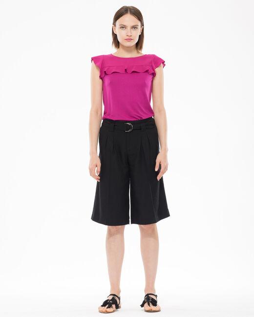 Tee-shirt fuchsia bi-matière volanté Nenuphar (1) - 1-2-3