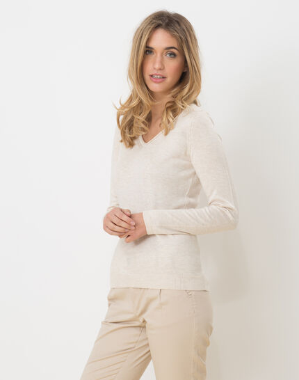 Honorine beige sweater with long sleeves PhotoZ | 1-2-3