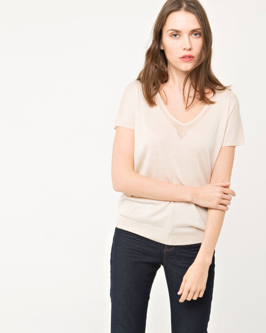Pull beige manches courtes Hope (1) - 1-2-3