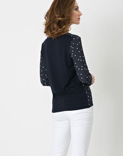 Nao dual fabric navy blue T-shirt (4) - 1-2-3