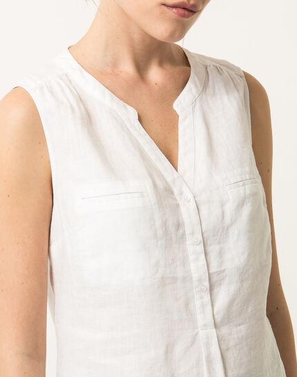 Elise ecru linen sleeveless blouse  (5) - 1-2-3