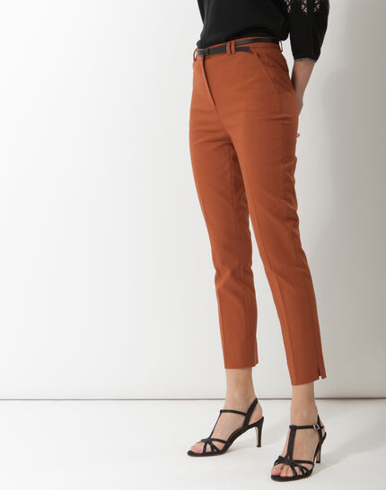 Pauline smart brown trousers with belt (3) - 1-2-3