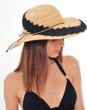 Johnny broad-brimmed straw hat black/white.