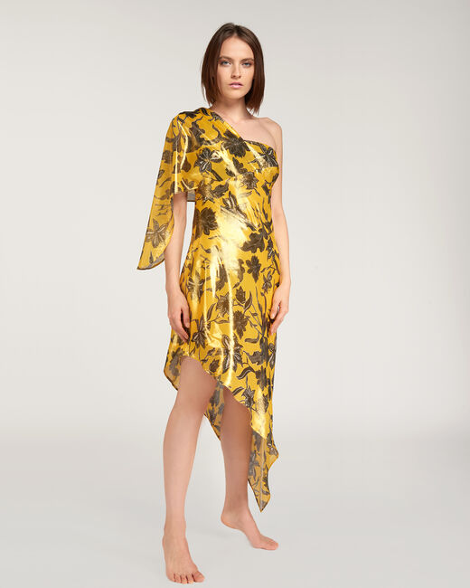 Fidji bronze-coloured dress with floral print (1) - 1-2-3