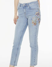 Xamaris embroidered, stonewashed jeans light washed.
