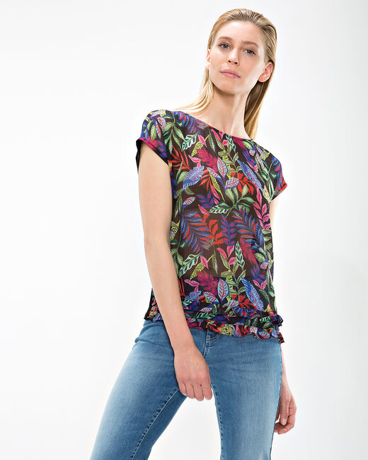 Nima black T-shirt with floral print (1) - 1-2-3