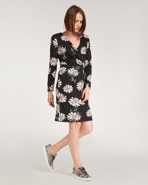 Bermuda black dress with floral print  (1) - 1-2-3