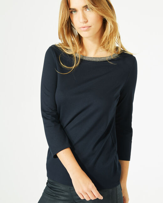 Billy navy blue T-Shirt with 3/4 length sleeves and rounded neckline (2) - 1-2-3