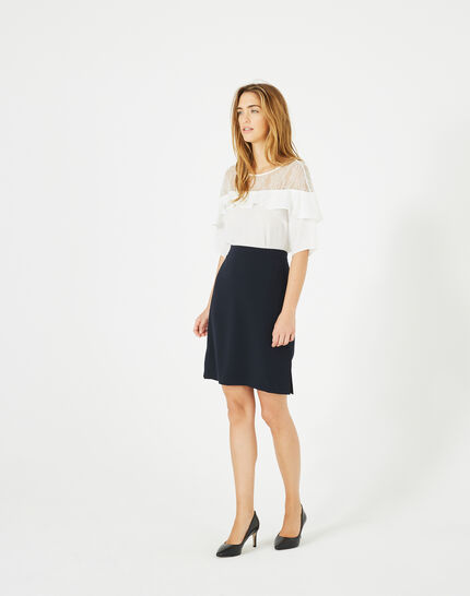Fanfare navy blue straight-cut tailored skirt PhotoZ | 1-2-3
