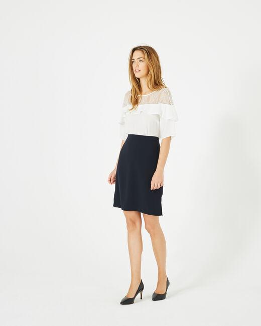 Fanfare navy blue straight-cut tailored skirt (1) - 1-2-3