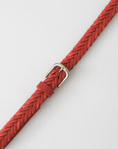 Yoyo red braided leather belt red.