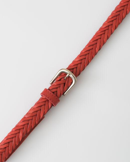 Ceinture tressée rouge en cuir Yoyo (2) - 1-2-3