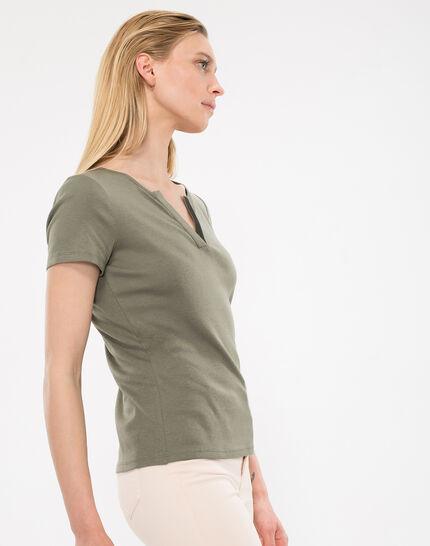 Tee-shirt kaki col strass Nirvana (3) - 1-2-3