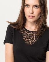 Tee-shirt noir col dentelle nastasia noir.