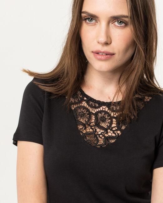 Tee-shirt noir col dentelle Nastasia (1) - 1-2-3
