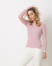 Hot pink striped sweater raspberry.