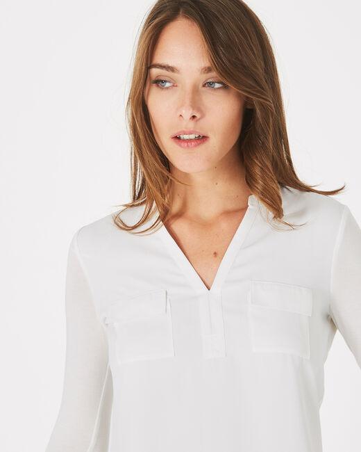 Leden ecru dual-fabric T-shirt (2) - 1-2-3