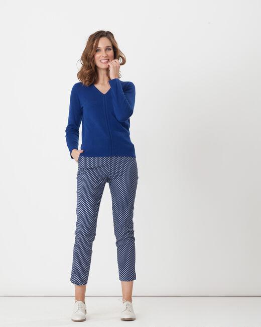 Pantalon de tailleur bleu à pois Rumba (1) - 1-2-3