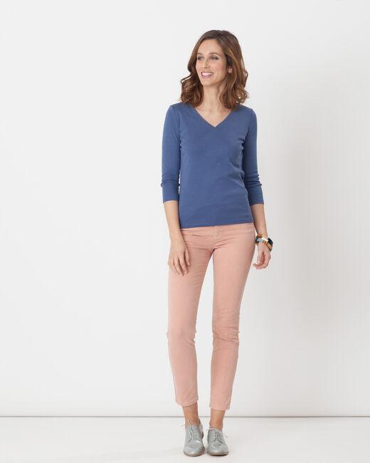 Tee-shirt bleu col brodé Noria (1) - 1-2-3