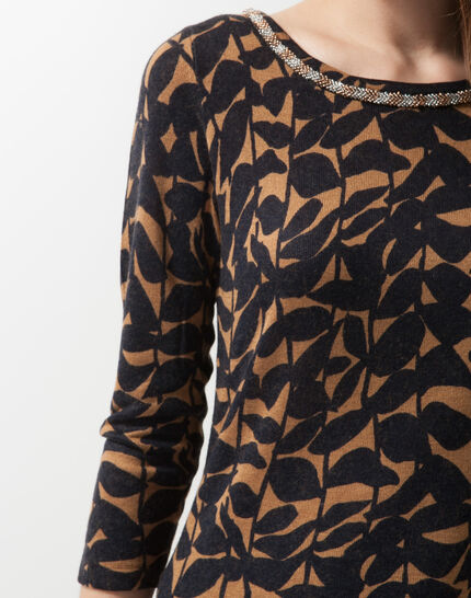 Hibiscus animal print T-Shirt with jewelled neckline (5) - 1-2-3