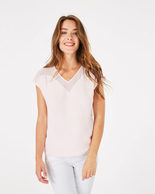 Puderrosa T-Shirt im Materialmix Beryl (1) - 1-2-3