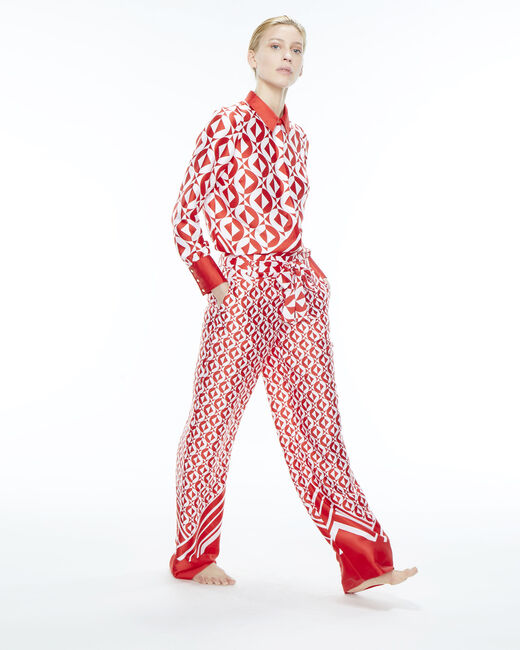 Deborah red trousers with a geometric print  (1) - 1-2-3