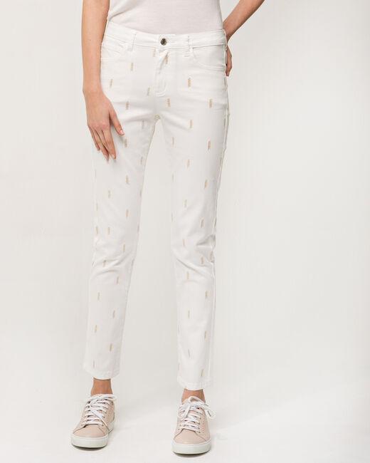 Pantalon 7/8 blanc brodé Xylon (2) - 1-2-3