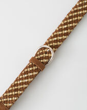 Yael camel braided leather belt camel.
