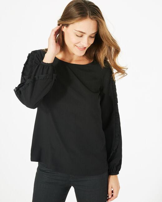 Dakota black blouse with rounded neckline (1) - 1-2-3