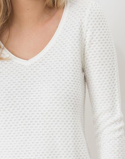 Heidi white sweater with stunning stitchwork (5) - 1-2-3