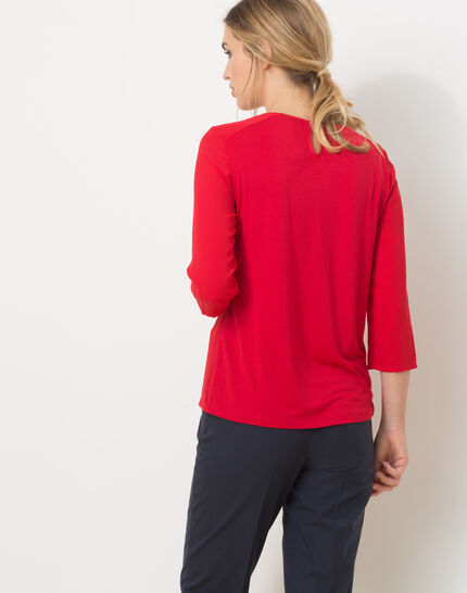 Lipstick red T-Shirt with bow neckline (4) - 1-2-3