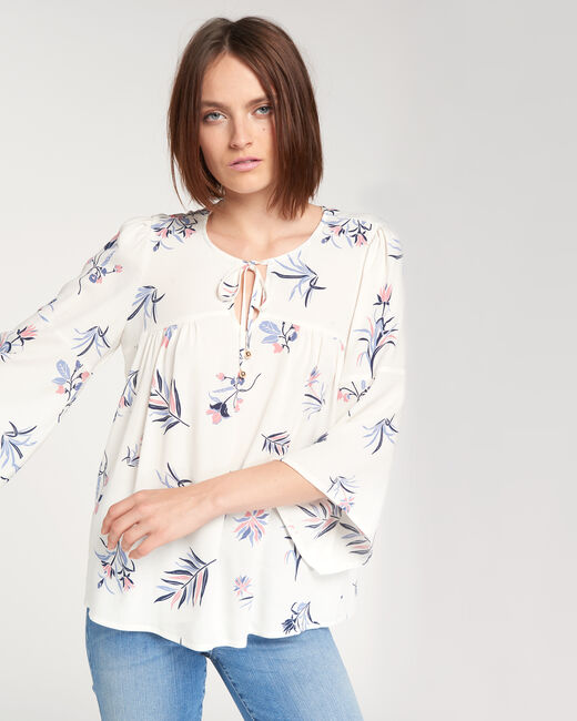 Echo ecru blouse with floral print (1) - 1-2-3