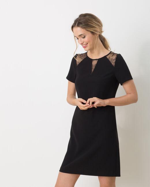 Bijou dual-fabric black dress (2) - 1-2-3