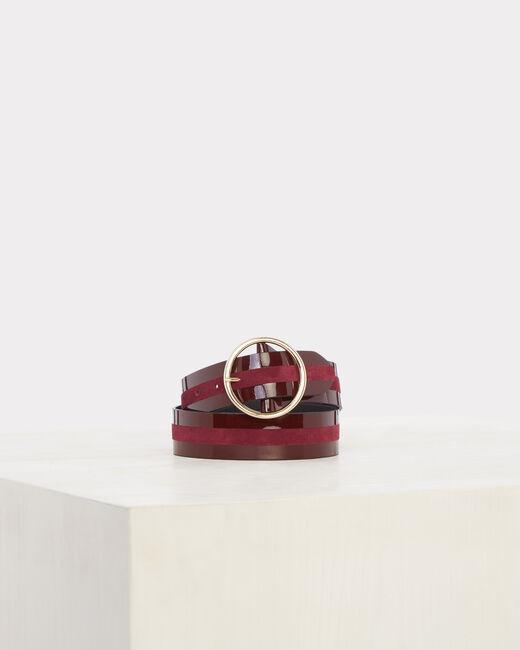 Olga burgundy dual-fabric leather belt (1) - 1-2-3