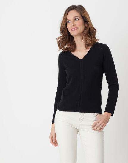 Heart black cashmere sweater PhotoZ | 1-2-3